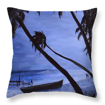 Throw Pillow featuring the painting Midnight Stroll In Paradise by Alan Lakin
