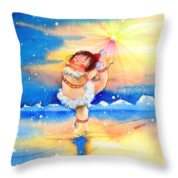 Midnight Sun Figure Skater Throw Pillow