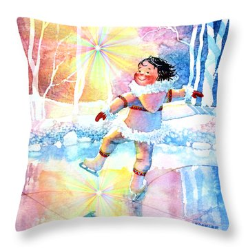 Midnight Sun Skating Fun Throw Pillow