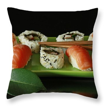 Midnight Sushi Indulgence Throw Pillow by Inspired Nature Photography Fine Art Photography