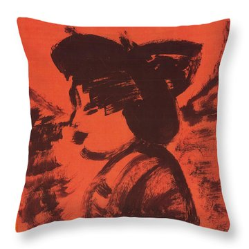 Throw Pillow featuring the painting Midori The Geisha by Don Koester