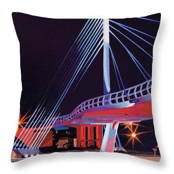 Throw Pillow featuring the painting Midtown Greenway Sabo Bridge by Jude Labuszewski