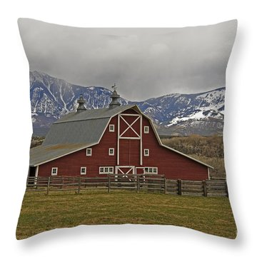Midway Ranch Barn Throw Pillow