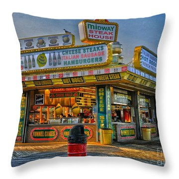 Throw Pillow featuring the photograph Midway Steak House by Debra Fedchin