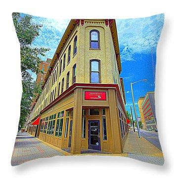 Midwest Flat Iron Building Throw Pillow by Garry Schmidt