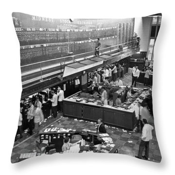 Midwest Stock Exchange Throw Pillow by Underwood Archives
