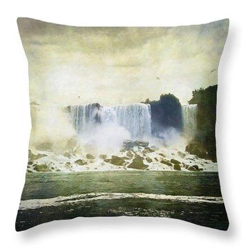 Mighty Niagara Throw Pillow by Lianne Schneider