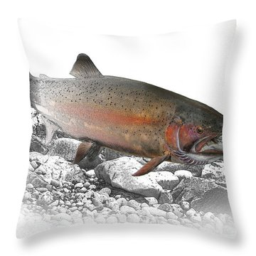 Migrating Steelhead Rainbow Trout Throw Pillow by Randall Nyhof