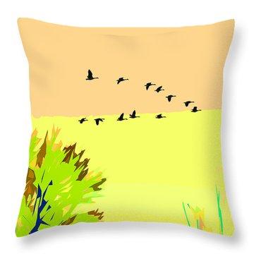 Migration 4 Throw Pillow by John Freidenberg