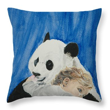Mika And Panda Throw Pillow