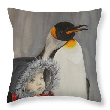 Mika And Penguin Throw Pillow