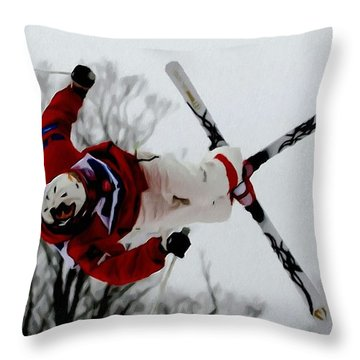 Mikael Kingsbury Skiing Throw Pillow by Lanjee Chee