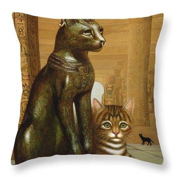 Mike The British Museum Kitten Throw Pillow