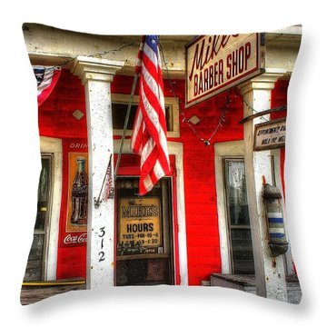 Mike's Barber Shop Throw Pillow
