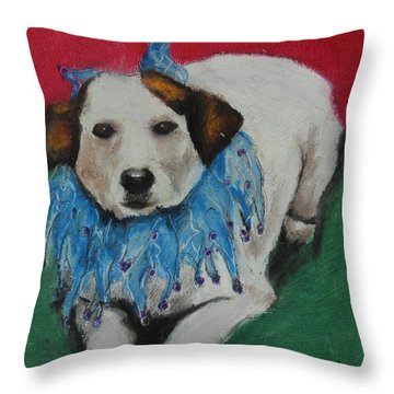 Throw Pillow featuring the painting Mikey by Jeanne Fischer