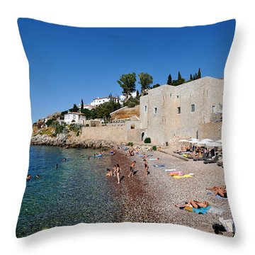 Mikro Kamini Beach Throw Pillow by George Atsametakis