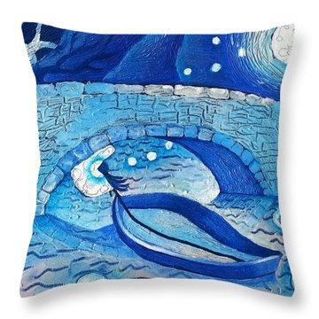 Mild Night Winds Blowing A Wish Under A Bridge Throw Pillow