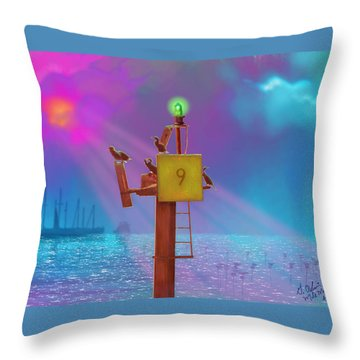 Mile Marker 9 Throw Pillow by Gerry Robins