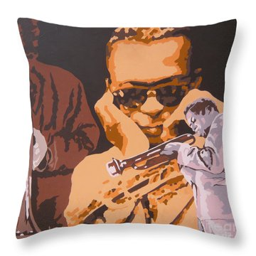 Miles Davis I Throw Pillow by Ronald Young