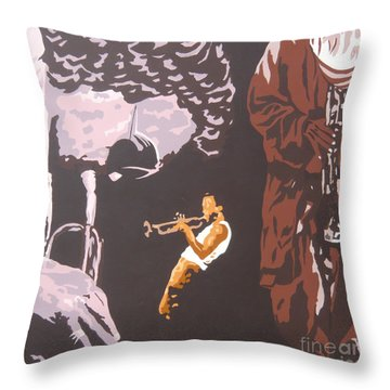 Miles Davis II Throw Pillow by Ronald Young