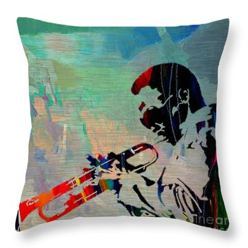 Miles Davis Jazzman Throw Pillow by Marvin Blaine