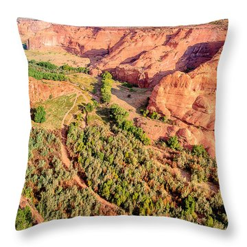 Miles To Go In Canyon De Chelly Throw Pillow by Bob and Nadine Johnston