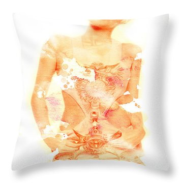 Throw Pillow featuring the digital art Miley by Brian Reaves