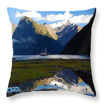 Throw Pillow featuring the photograph Milford Sound by Cascade Colors