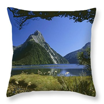 Milford Sound  New Zealand Throw Pillow by Rudi Prott