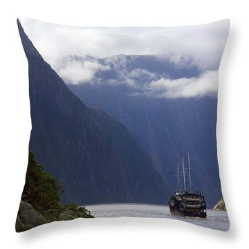 Milford Sound Throw Pillow by Stuart Litoff