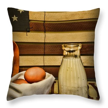 Milk And Eggs Throw Pillow by Paul Ward