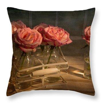 Milk Bottle Roses Throw Pillow by Ann Garrett