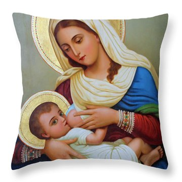Milk Grotto Artwork Throw Pillow by Munir Alawi
