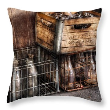 Milkman - Bottles In Boxes Throw Pillow by Mike Savad