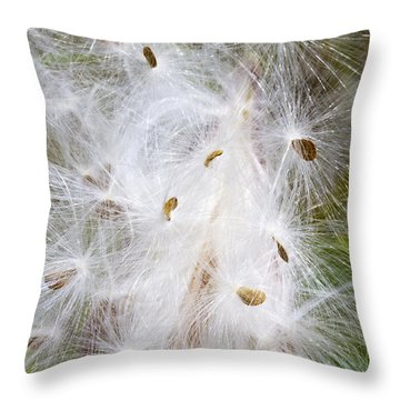 Milkweed Seeds And Fluff Throw Pillow