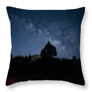 Milky Way And Campfire Throw Pillow