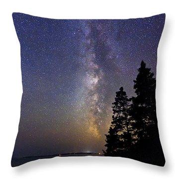 Milky Way At Acadia National Park Throw Pillow