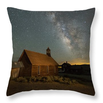 Milky Way Over Bodie Church Throw Pillow