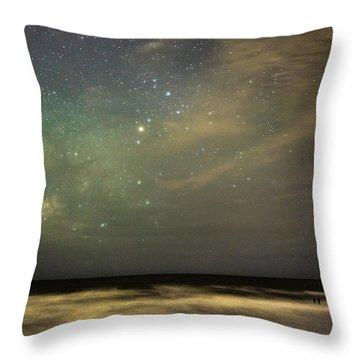 Milky Way Over Folly Beach Throw Pillow