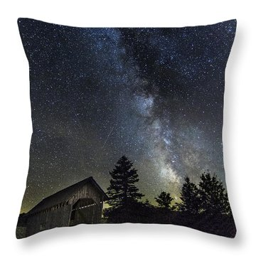 Milky Way Over Foster Covered Bridge Throw Pillow