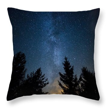Milky Way Over The Forest Throw Pillow