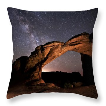 Milkyway Over Broken Arch Throw Pillow by Melany Sarafis