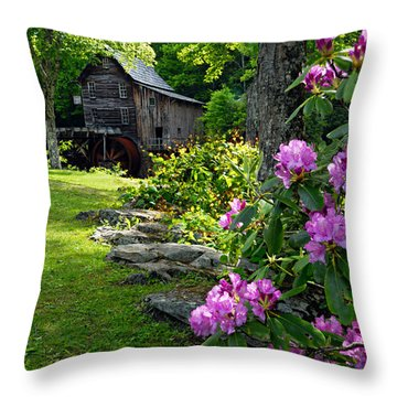 Mill And Rhododendrons Throw Pillow