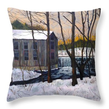 Mill At Walters Falls Throw Pillow by Diane Arlitt