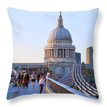 Millennium Bridge And St Pauls Cathedral 5403 Throw Pillow