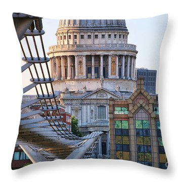 Millennium Bridge And St Pauls Cathedral 5410 Throw Pillow