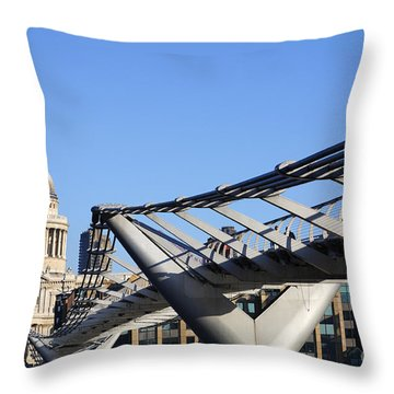 Millenium Bridge And St Paul's Cathedral Throw Pillow