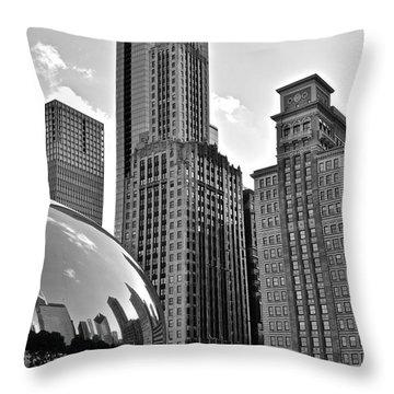 Millennium Park Black And White Throw Pillow