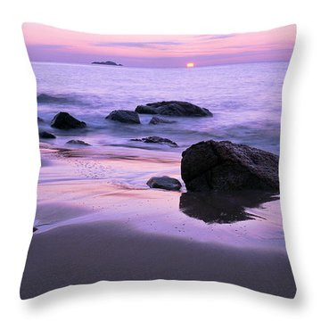 Millennium Sunrise Singing Beach Throw Pillow by Michael Hubley
