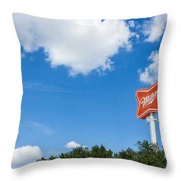 Miller Brewery Sign Throw Pillow
